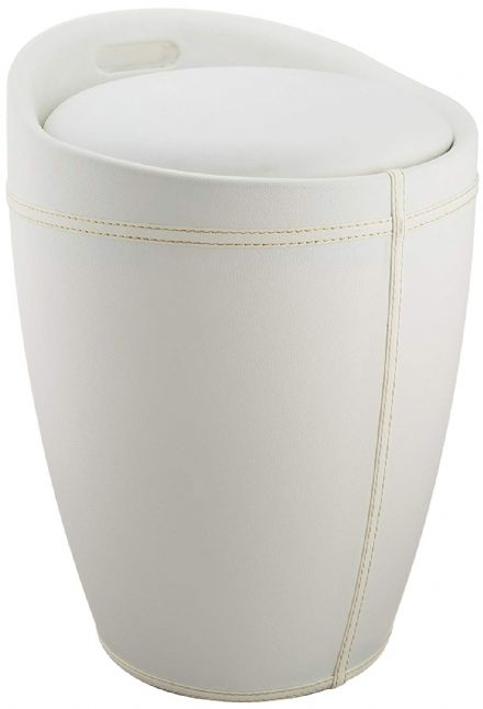 Wenko Candy White Leather Look Laundry Bin & Bathroom Stool